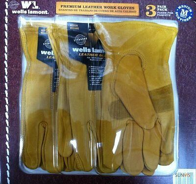 Wells Lamont Premium Cowhide Leather Work Gloves 3 Pair Pack Construction M-L-XL