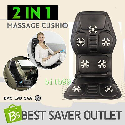 2 IN 1 7 Motor Massaging Back Massage Seat Pad Massager Chair Cushion Car BY