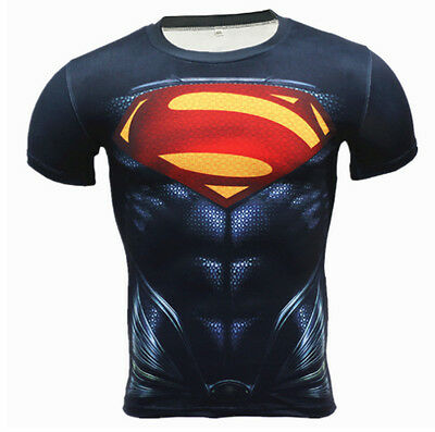 New Fitness Compression T-Shirt Men Anime Superhero Avengers Sports &Casual Wear
