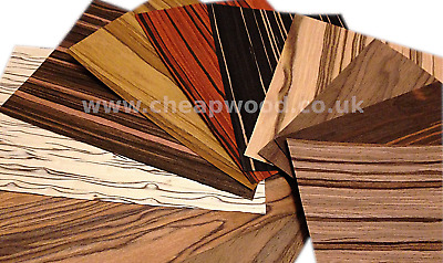 Wood Veneer  Samples - Ebony Oak Zebra Walnut Olive Sandal Rose