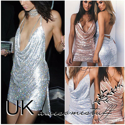 UK Womens Backless Sequin Dress Ladies Kendall Chain Choker Slip Dress Size 6-14