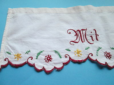 Antique hand embroidered flowers and German motto/Chelf runner-in red work
