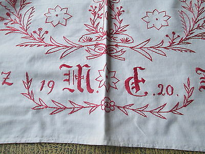 Antique church or chapel runner hand embroidered motto vestment/cotton 1920