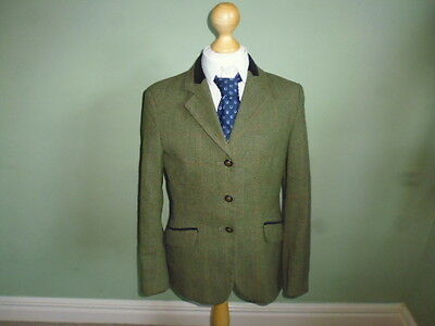 """Mears Pytchley girls green wool tweed show jacket size 30"""" age 11-12 years"""