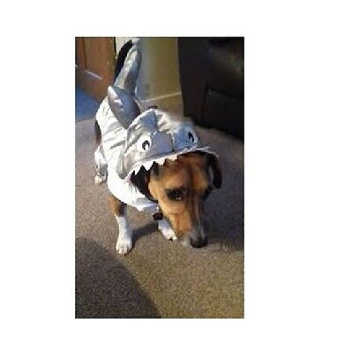 Dog Fancy Dress Costume Silver Shark Pet Halloween Party Outfit - Size Medium