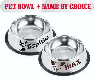 Stainless Steel Dog Cat Custom Name Bowl Feeding Food Water Animals Outside