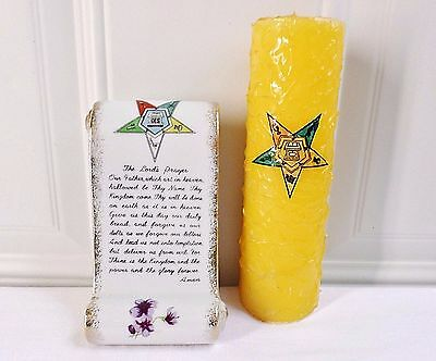 Vintage Order Of The Eastern Star OES Lords Prayer Decoration W/Candle!