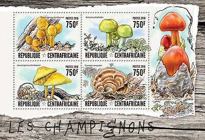 Central African Republic 2016 MNH Mushrooms 4v M/S Champignons Fungi Stamps