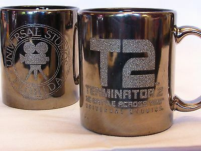 Universal Studios T2 Terminator 2 3D Battle Across Time Mirrored Coffee Cup Mugs