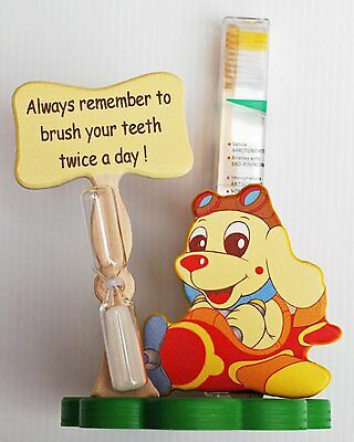 Dog Toothbrush Holder with Toothbrush & Timer - Italian - Handcrafted from Wood