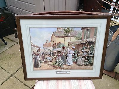 FLOWER MARKET By Alfred A Glendening (1861-1907) REPRODUCTION PRINT