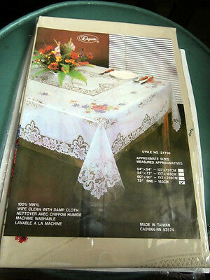 Vintage Beige Cross stitch floral lace pattern vinyl tablecloth round 72 inches