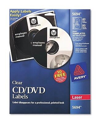 Avery CD-ROM/DVD Laser Labels 40/PK Glossy Clear 5694 Brand New
