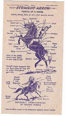 Straight Arrow --Nabisco Points of a Horse--- Book 1-- #28 CARD--- 1949