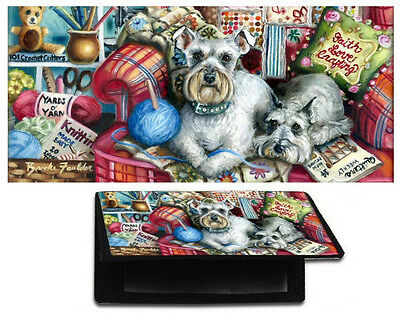 CHECKBOOK cover Schnauzer wallet dog ART black standard check book or side tear