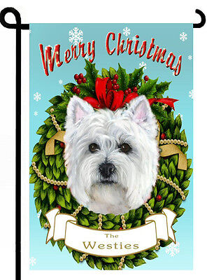 Westie Christmas Dog painting West Highland TERRIER GARDEN FLAG ART Personalized