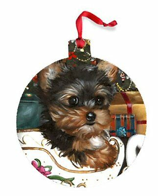 Yorkshire Terrier ORNAMENT CHRISTMAS painting Dog art Yorkie PUPPY 2016