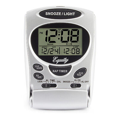 31300 Equity by La Crosse LCD Digital Fold-Up Travel Alarm Clock with Date & Day