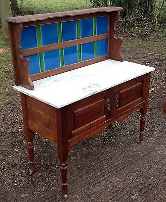 Antique Marble Topped Wash Stand Dressing  Console Table