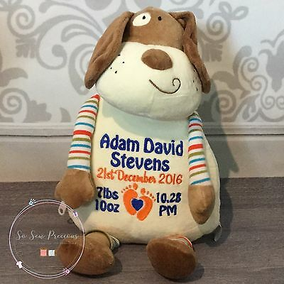 Personalised Cubby Pastel Dog, New Baby, Teddy Bear Gift, Cubbies