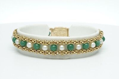 19.2K Yellow Gold Antique Pearl & Jade Byzantine Bracelet