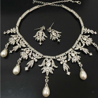 Fashion Girl Women Pearl Crystal Jewelry Angel Pendent Necklace Earring Set
