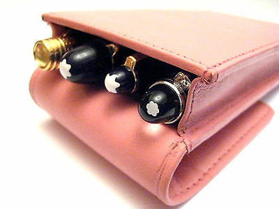 Pink REAL LEATHER Triple/1,2,3,4 Pens. Pen Case/Pouch SPECIAL OFFER. WAS £16.99