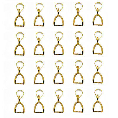 40 Pcs Brass Pinch Clip Connectors Bail for Jewelry DIY 14//8.5mm Gold//Silver
