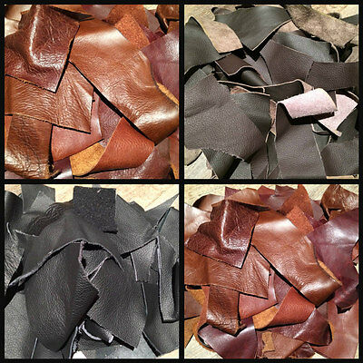 200g BLACK/BROWNS GENUINE LEATHER/SUEDE PIECES/CRAFT/SCRAP/REMNANT/OFFCUT/PATCH