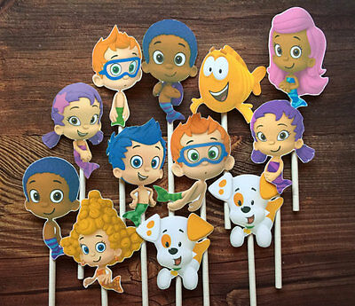 12- BUBBLE GUPPIES Cupcake and Cake Toppers Birthday Party Supplies