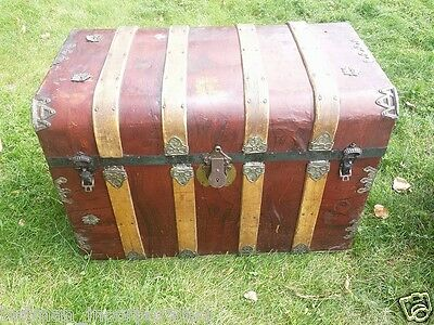 ☛Antique☆Patterned☆Metal☆Monitor☆Top☆Wood☆and☆Tin☆Trunk☆Vintage☆Chest☆Cross☆Slat
