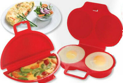 Microwave Omelette and Poacher Maker Set Eggs Fried Fast Scrambled Onion Peppers