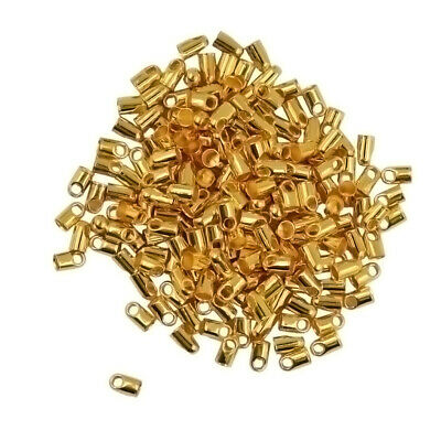 100 Packs of Brass Crimp End Beads Findings Jewelry Making 7x3.8mm-Gold/Silver