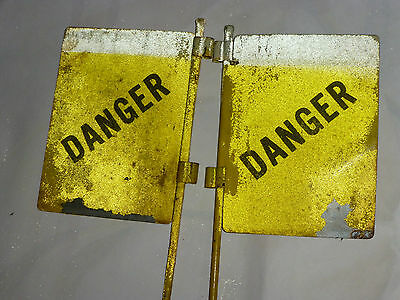 2 WWII US Military Metal DANGER Land Mine Marker Flag Sign Yellow Florescent - B