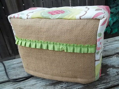Toaster Cover Burlap Flowers Spring Green Vintage Quilted Homemade 2 Slice