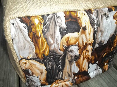 Toaster Cover Rustic Horses Burlap Fabric Quilted 4 Slice
