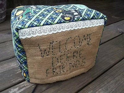 Toaster Cover John Deere Burlap Lace Embroidered Fabric Quilted 2 Slice