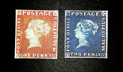 MAURITIUS POST OFFICE 1847 1 penny and 2 PENNY , FAKES