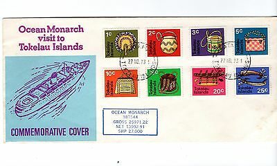 Tokelau - 1973 Commemorative Cover Ocean Monarch Visit used postage stamps