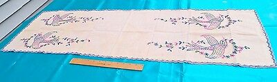 Vintage Ecru 14 X 46 Linen Runner Embroidered With Birds In Blue, Pink And Green