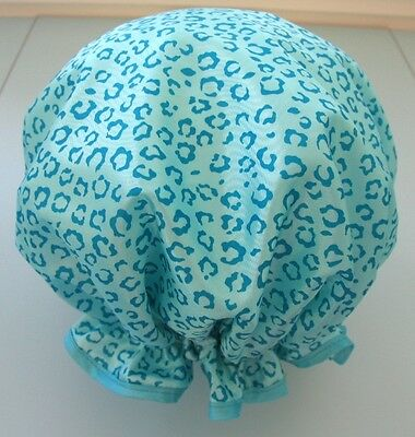 SHOWER CAP HAT AUSTRALIA  HANDMADE, WATERPROOf aqua taffeta animal print