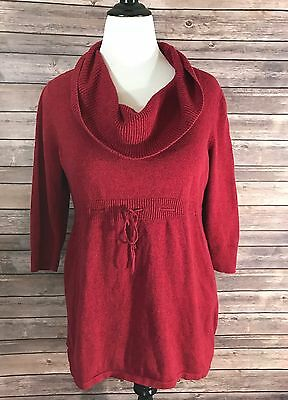 Oh Baby Motherhood Maternity Womens Cowl Neck Sweater Size XL Red 3/4 Sleeve