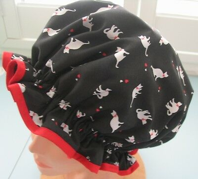 SHOWER CAP HAT  OZZY  HANDMADE, WATERPROOF Black  with white cats and red bows