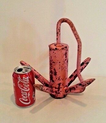 Old Vintage Antique 1950s Cast Iron Steel Pink Grapple Hook Sport Boat Anchor