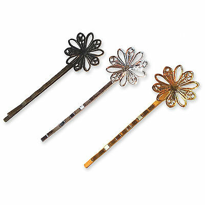60mm Cupped Decorative Floral Hair Pins Clips Blanks Bobby Kirby Metal Findings