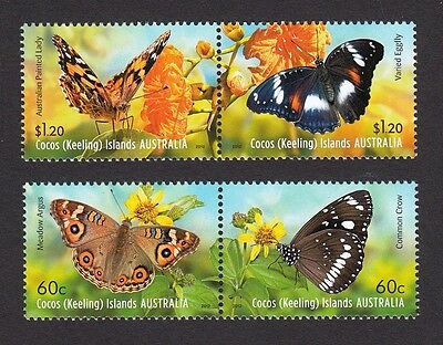 2012 Cocos (Keeling) Islands Stamps - Butterflies - 2 Pairs MNH
