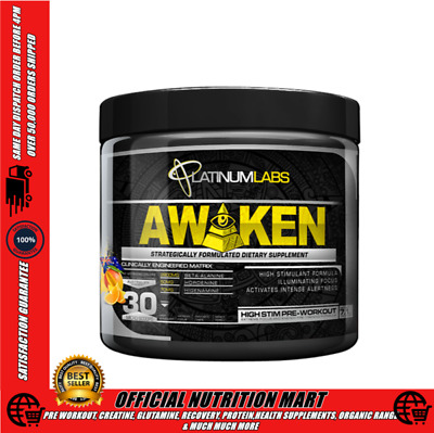 Platinum Labs Awaken Pre-Workout 30 Serves Strong Pre Workout Focus Pump Defcon