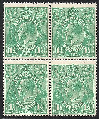 1.5d Green KGV - Single Wmk Block 4 MUH Fine