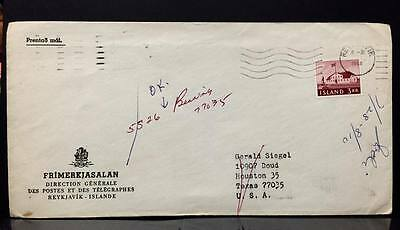 Iceland Cover  to U.S. ,tied by Reykjavik ,With 3Kr usage.
