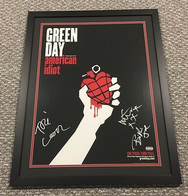 Green Day Signed American Idiot Framed Poster JSA #Z14692 Auto Billie Tre Mike